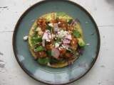 Half Master {smoky/spicy shrimp tostadas w/charred green onion sauce}